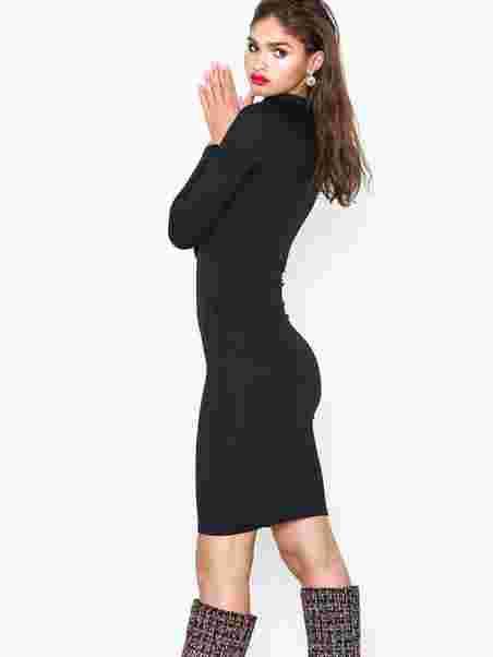 0771b2faff4c High Neck Skinny Rib Midi Dress - Parisian - Black - Festkjoler ...