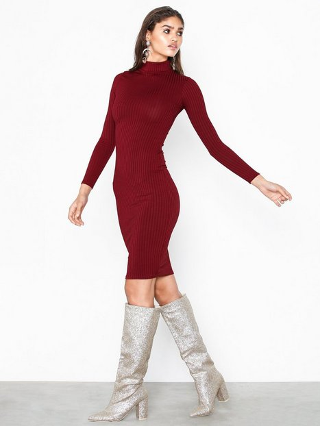 Billede af Parisian High Neck Skinny Rib Midi Dress Kropsnære kjoler Wine