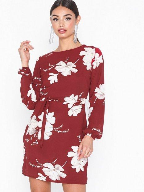 Billede af Parisian Floral Print Tie Waist Mini Dress Langærmede kjoler