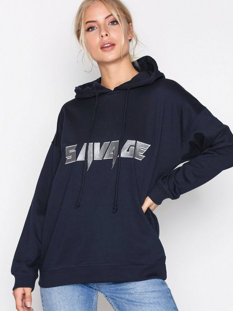 Missguided Oversized Hoody Hoods Navy thumbnail
