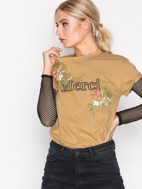 Missguided Merci Floral T-shirt T-shirts Mustard thumbnail