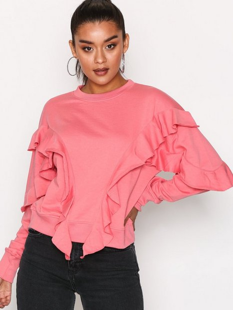 Missguided Frill Detail Sweat Sweatshirts Pink thumbnail