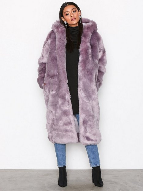Missguided Hooded Fur Maxi Coat Faux Fur Lilac thumbnail