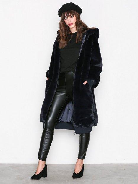 Billede af Missguided LONDUNN Hooded Fur Jacket Faux Fur Marine