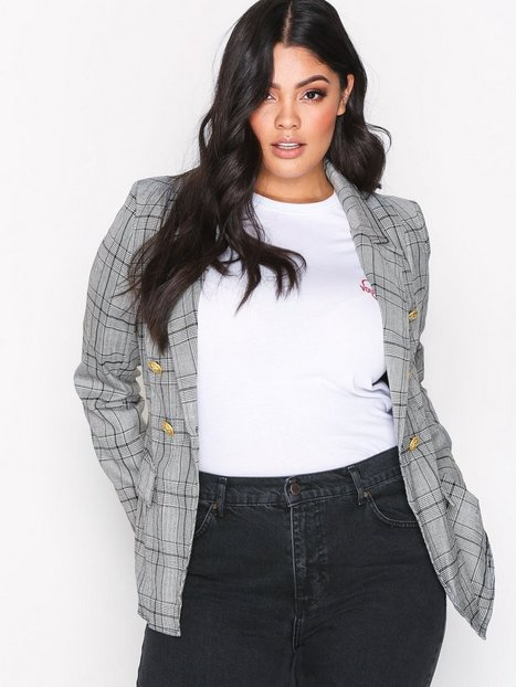 Billede af Missguided Check Military Jacket Blazer Grey