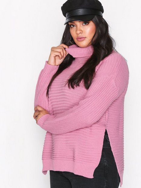 Missguided Roll Neck Knitted Jumper Stickade tröjor Pink thumbnail