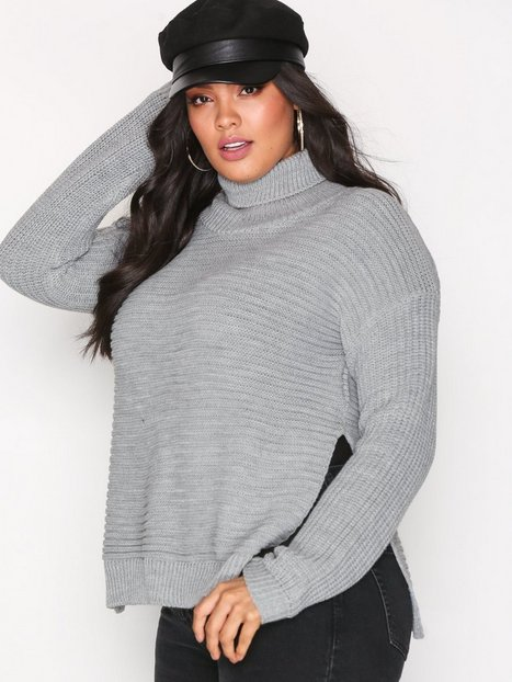 Missguided Roll Neck Knitted Jumper Stickade tröjor Grey thumbnail