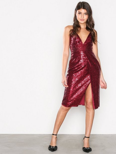 Billede af Missguided Sequin Strappy Midi Dress Pailletkjoler Red