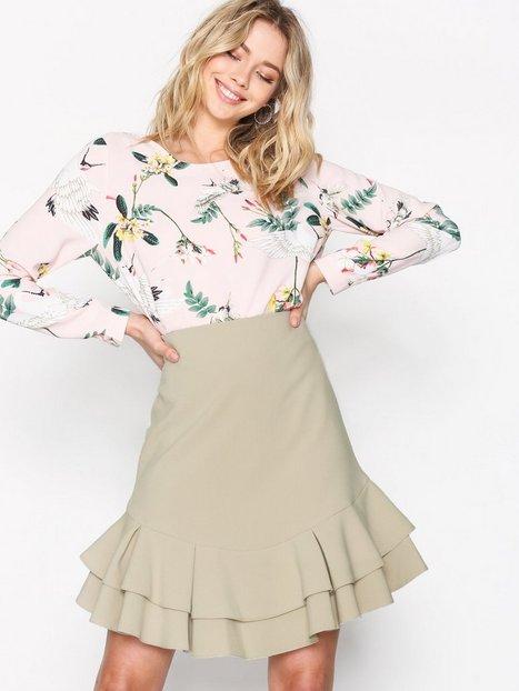 Billede af Closet Frill Hem Skirt Midi Nederdel Beige