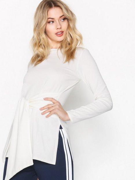 Billede af Closet Tie Front Jersey Top Langærmede toppe White