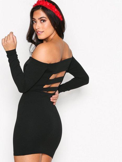 Billede af Missguided Bardot Strap Back Mini Dress Kropsnære kjoler Black