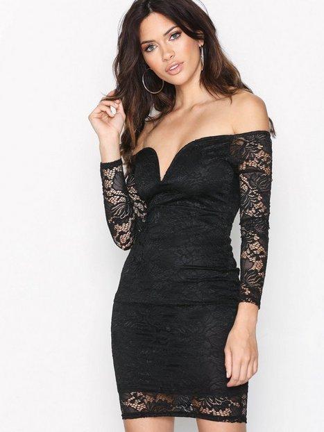 Billede af Missguided Bardot Plunge Lace Dress Kropsnære kjoler Black