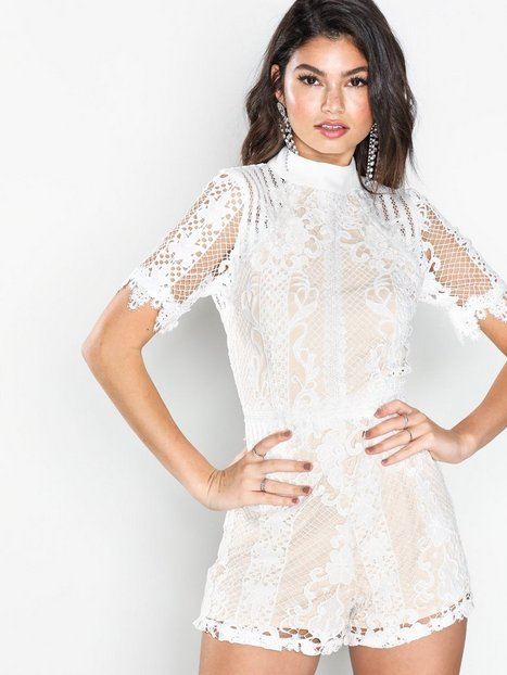 Missguided High Neck Lace Playsuit Playsuits Ivory thumbnail