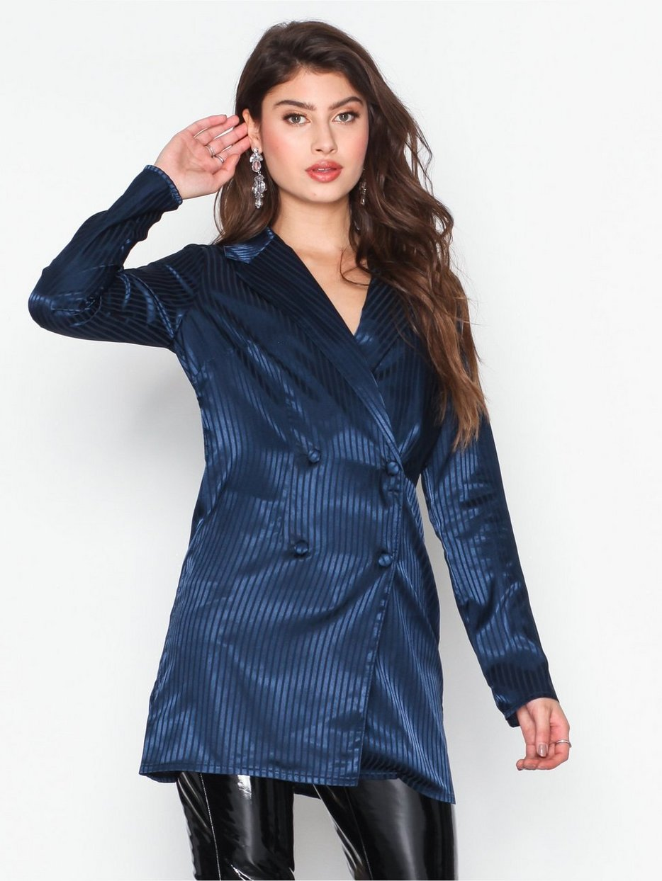 bbfbc29781d Satin Striped Blazer - Missguided - Navy - Jackets - Clothing ...