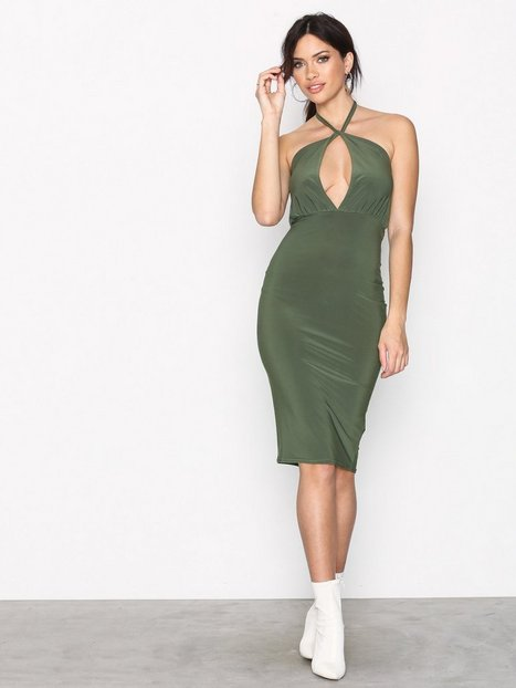 Missguided Slinky Tie Midi Dress Kotelomekot Khaki thumbnail