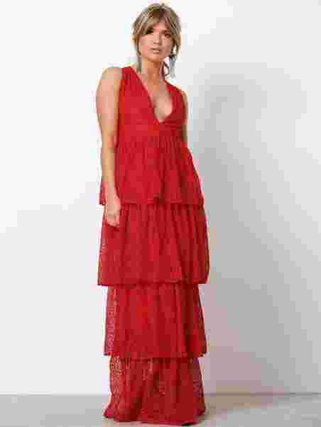 38118aab908a Lace Tiered Frill Maxi Dress - Missguided - Red - Party Dresses ...