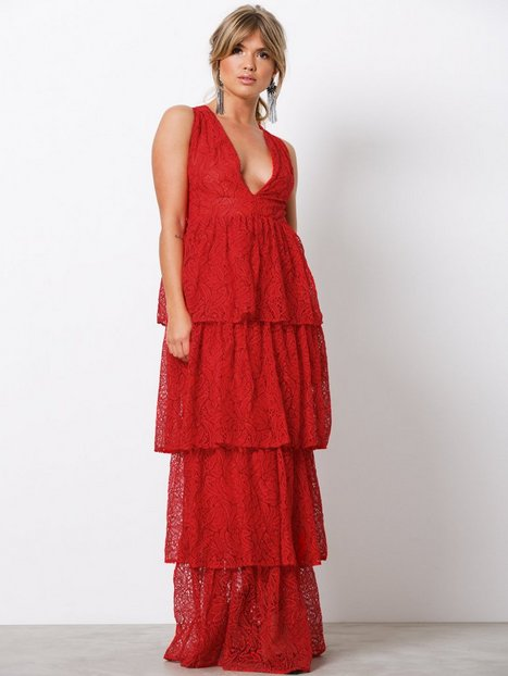 Lace Tiered Frill Maxi Dress - Missguided - Red - Partykleider ...