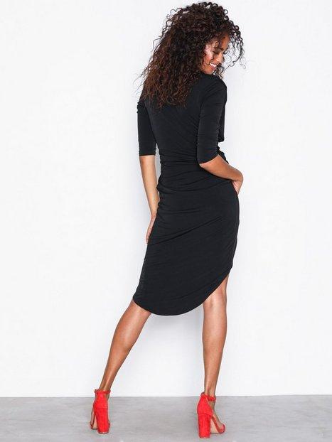 Slinky Wrap Asymmetric Midi Dress