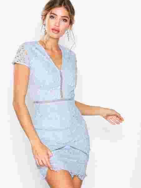 4a5e9a9564 Crochet V - Neck Midi Dress - Missguided - Powder Blue - Party ...