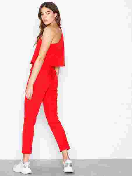 8198acb75c9 One Shoulder Bow Jumpsuit - Missguided - Red - Jumpsuits - Clothing ...