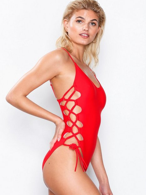 Billede af Missguided High Leg Lace Up Swimsuit Bikinier Red
