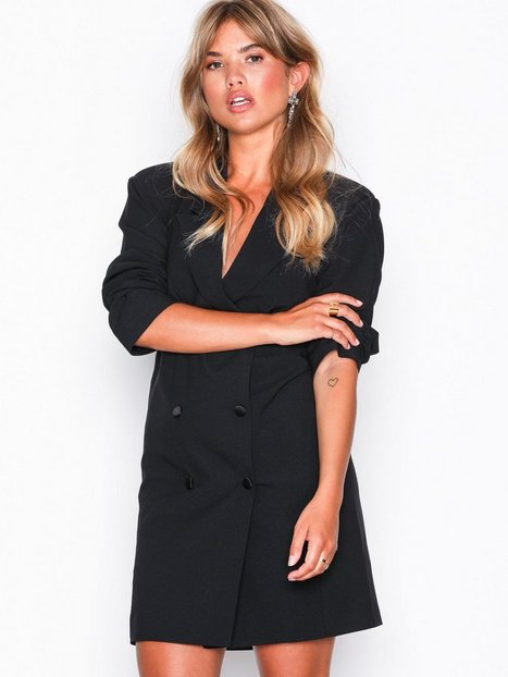 Crepe Belted Button Blazer Dress