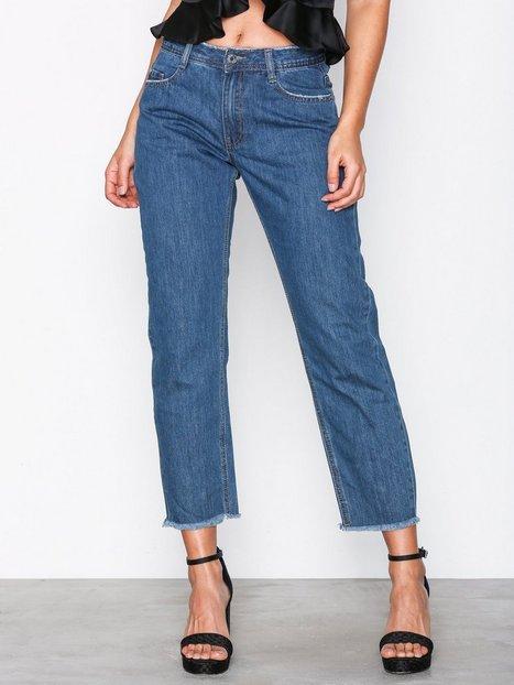 Billede af Missguided Mid Rise Clean Cut Hem Jeans Straight Blue