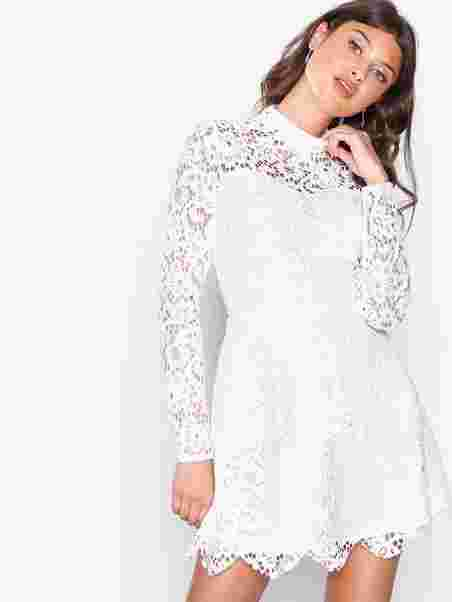 Lace High Neck Frill Layered Mini Dress - Missguided - White - Party Dresses  - Clothing - Women - Nelly.com 44069361fc3e9