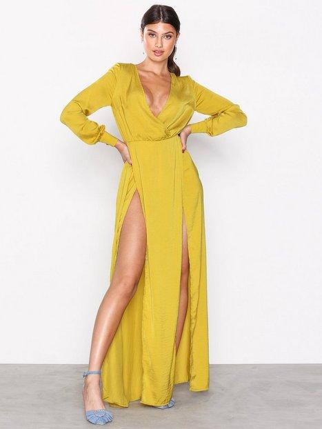 Missguided Plunge Wrap Front Split Maxi Dress Maksimekot Chartreuse thumbnail