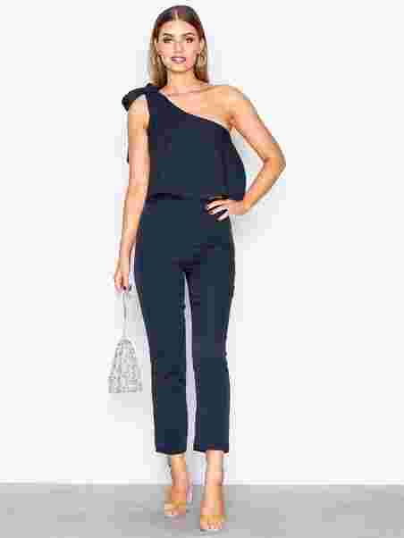 8312f351a4d One Shoulder Bow Jumpsuit - Missguided - Navy - Jumpsuits - Clothing ...
