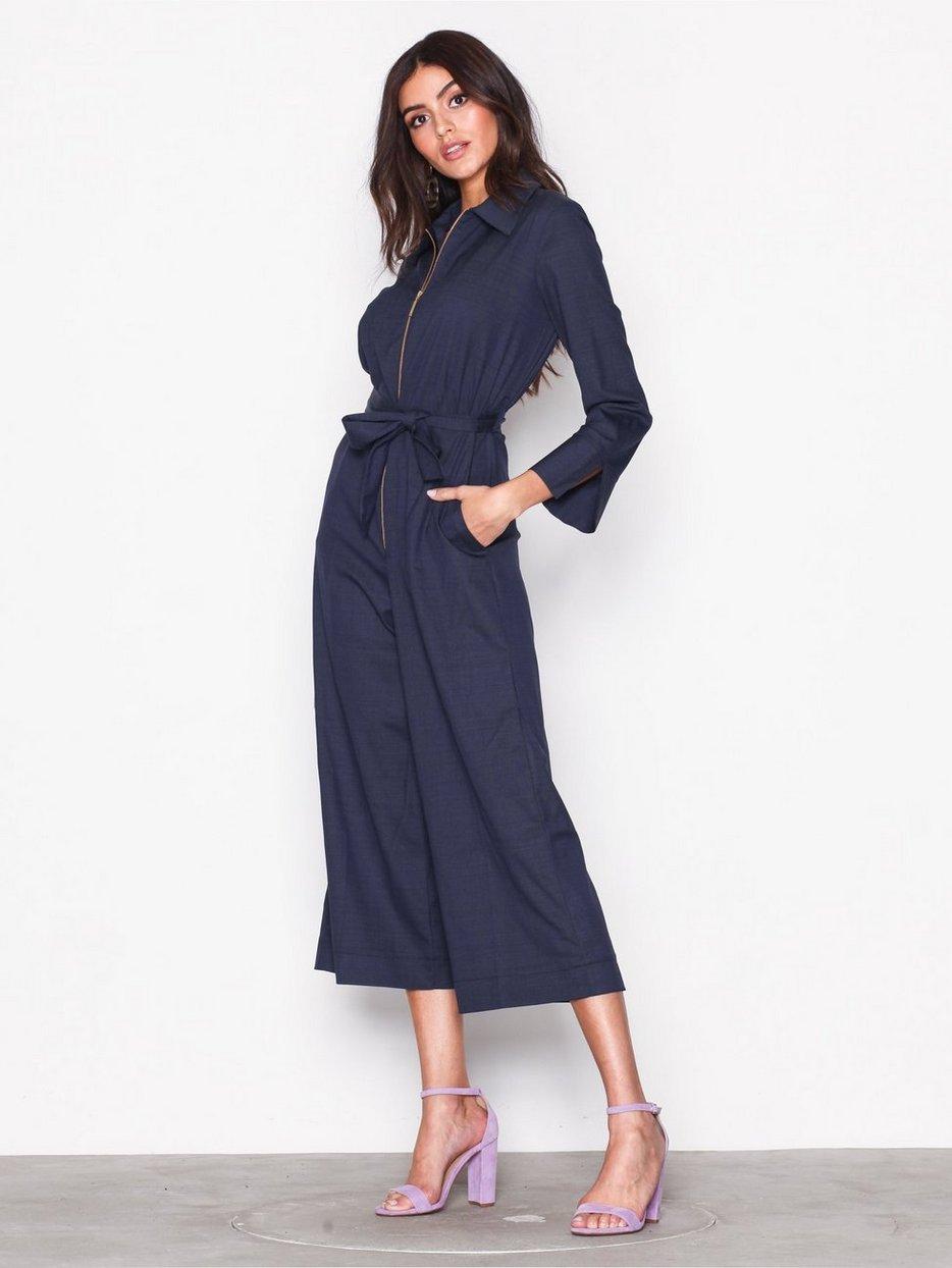 8412aebbee1561 Wide Leg Shirt Jumpsuit - Closet - Navy - Jumpsuits - Kleidung ...