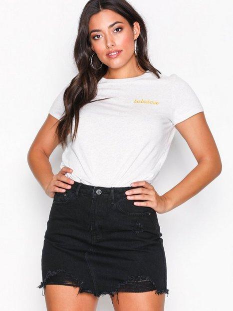 Billede af Missguided Ripped Denim Mini Skirt Mini nederdele Black