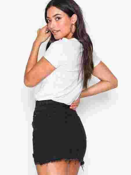 9bc410824b Ripped Denim Mini Skirt - Missguided - Black - Skirts - Clothing ...