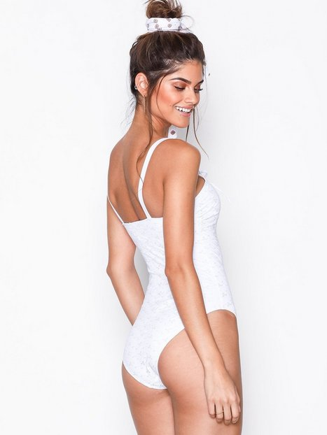 Lace Up Embroidered Swimsuit