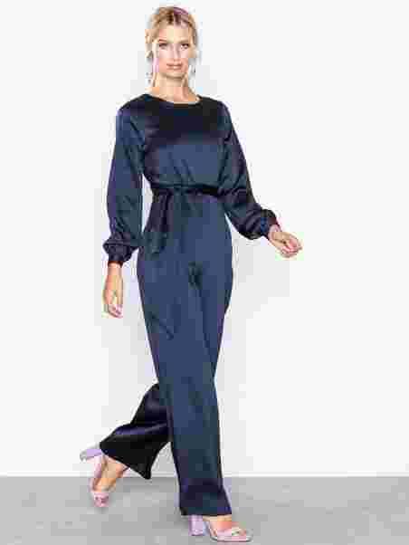 f53b5cf4cdf4 Tie Waist Jumpsuit - Closet - Navy - Jumpsuits - Clothing - Women ...