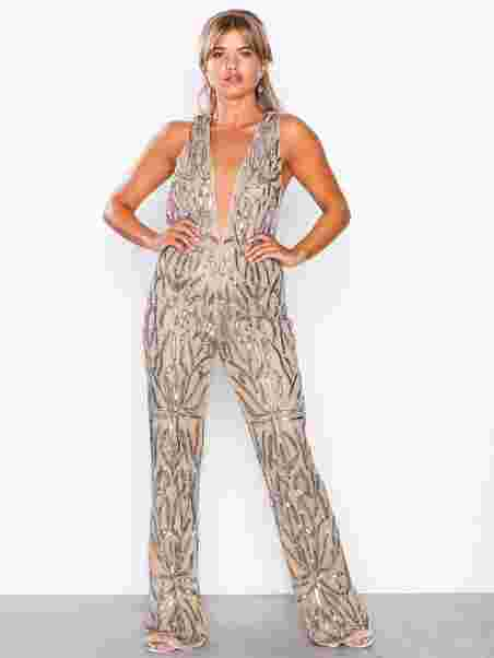 2f38bead8a98 Embellished Plunge Jumpsuit - Missguided - Nude - Jumpsuits ...