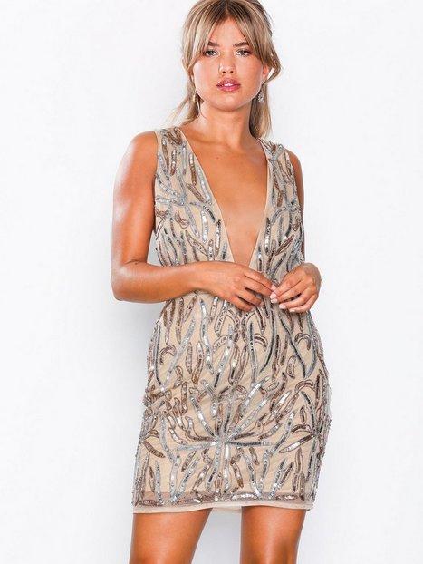 Billede af Missguided Embellished Plunge Mini Dress Pailletkjoler Nude