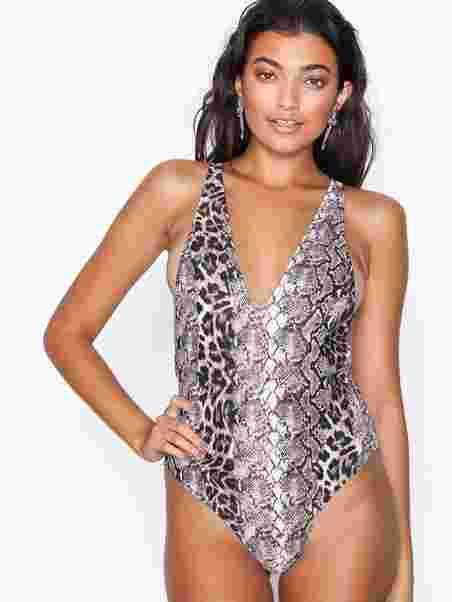 cab52f6deba Snake Print Plunge Swimsuit, Missguided