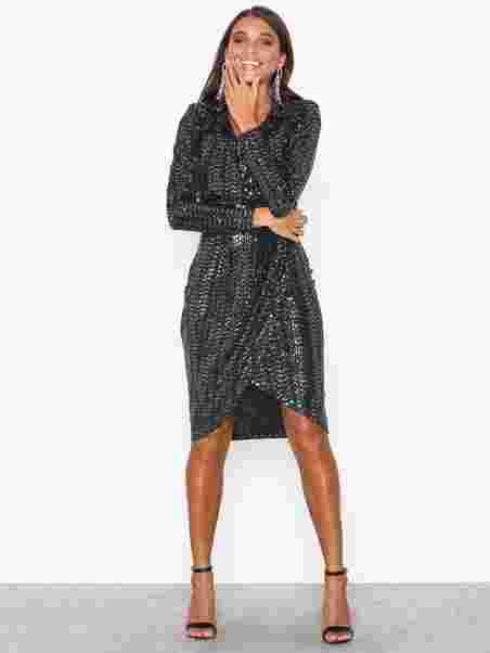 6b343be6 Sequin Wrap Front Midi Dress - Missguided - Black - Party Dresses ...
