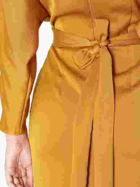 5d666baa054 Gathered Waist Tulip Dress - Closet - Mustard - Party Dresses ...