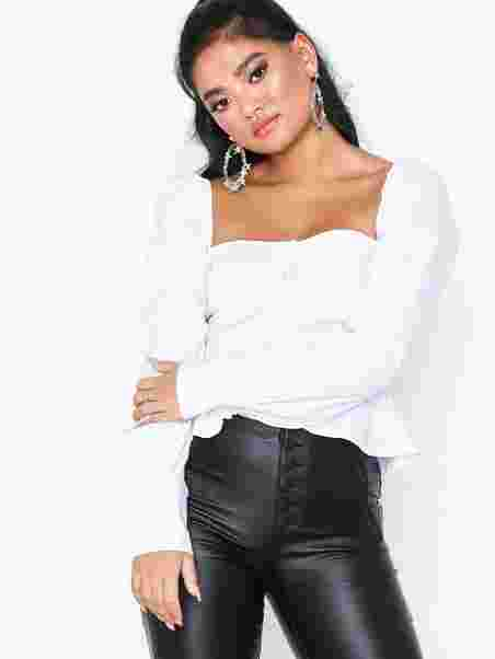 a58c9d3bcb Square Neck Peplum Top - Missguided - White - Tops - Clothing ...