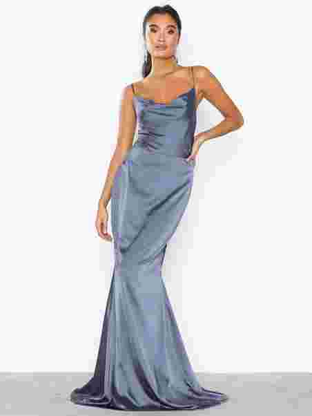 1179138a916 Satin Cowl Neck Maxi Dress - Missguided - Slate Blue - Party Dresses ...
