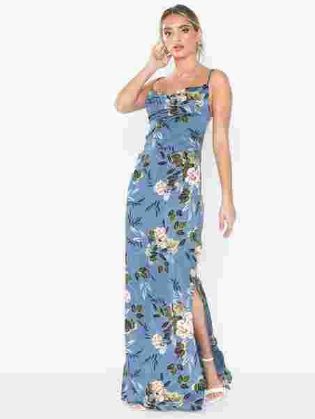 Satin Cowl Neck Maxi Dress - Missguided - Blue - Party Dresses ... 35e6599ad