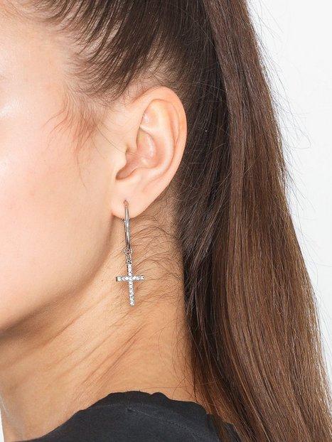 Billede af Missguided Jewelry Hoop Diamante Cross Earring Øreringe