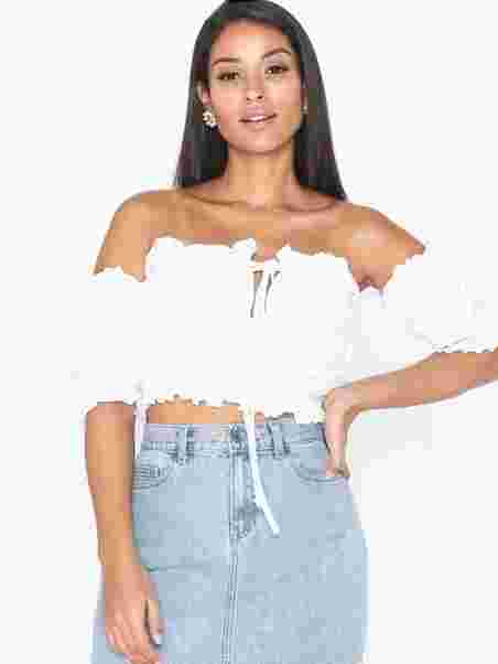 f02c98fab82 Milkmaid Bardot Crop Top - Missguided - White - Tops - Clothing ...
