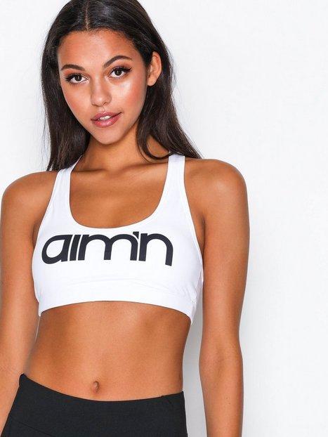 Billede af Aim'n White Logo Bra Sports BH Medium Support Hvid