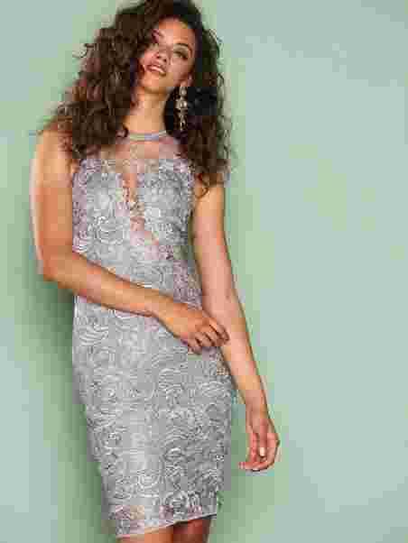 e3f83cbd85215 Dreamy Lace Dress - Ax Paris - Grey - Party Dresses - Clothing ...