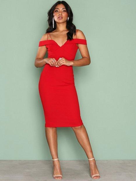 Billede af Ax Paris Bardot Strap Bodycon Dress Kropsnære kjoler Red