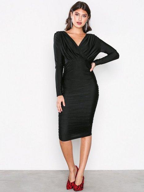 Ax Paris Long Sleeve Wrinkle Dress Kotelomekot Black thumbnail