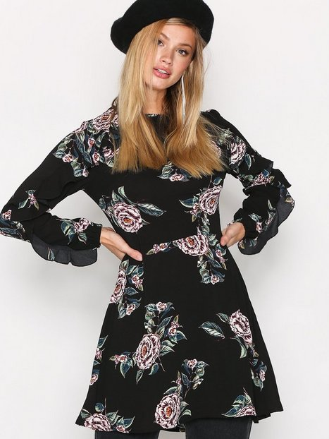 Billede af Ax Paris Long Sleeve Print Dress Loose fit dresses Black Print